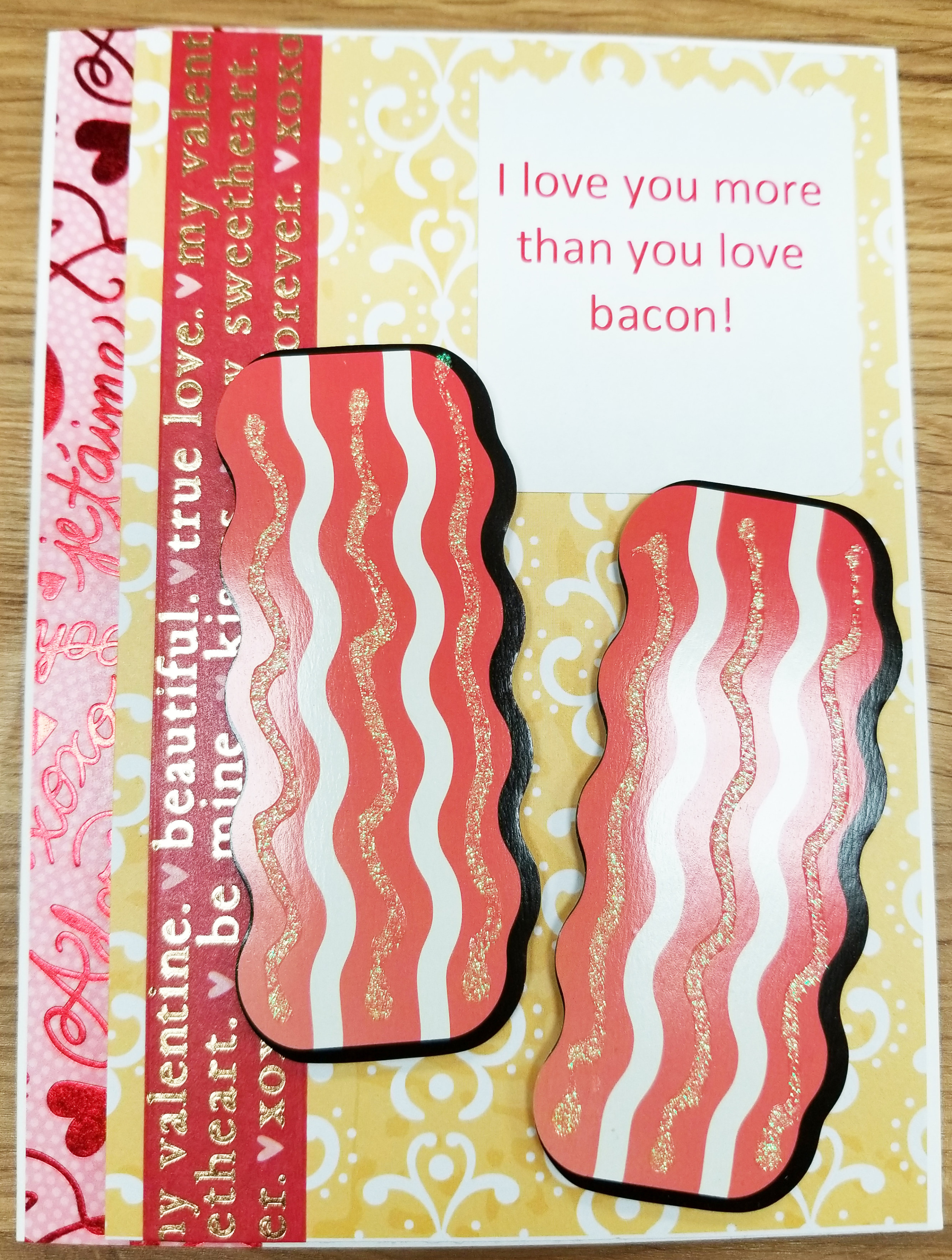 Strange I Love You More Than You Love Bacon Handmade Greeting Card Personalised Birthday Cards Paralily Jamesorg